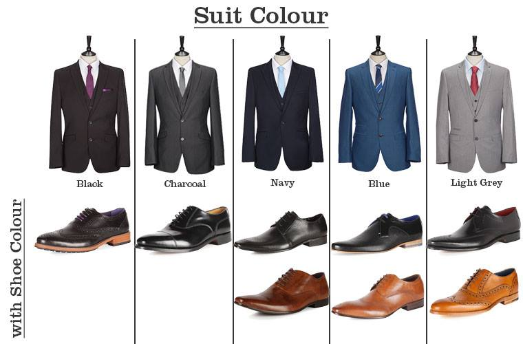 "<img src=""http://www.thenextrex.com/wp-content/uploads/2015/02/Suit-Colour.jpg"" alt=""This picture tells which suit to wear with a particular boot"">"