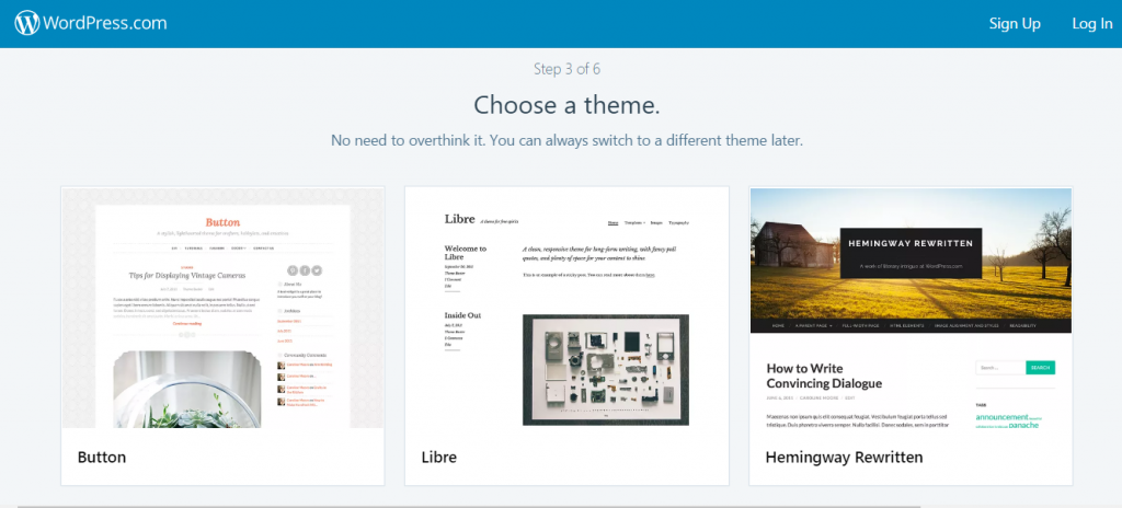 Choose a theme - create free blog on wordpress