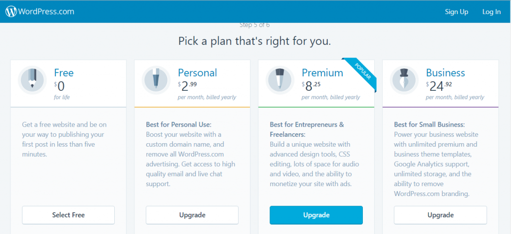 pick a plan - Create free WordPress website