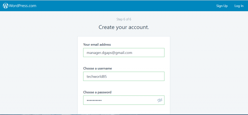 create your account - How to make free website on WordPress