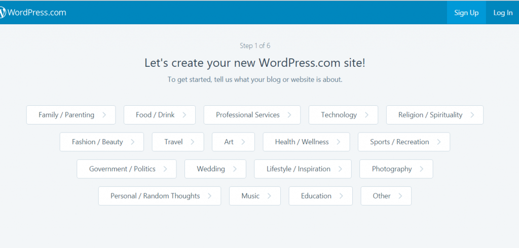 Signup and choose a category - create a blog on wordpress