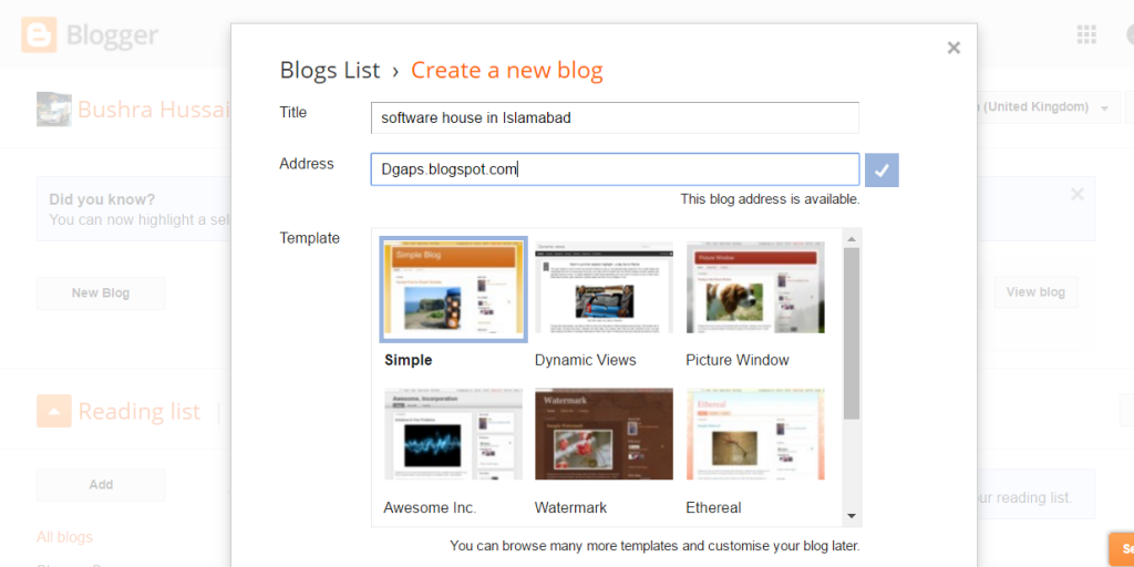 create a blog on blogspot - Blogger