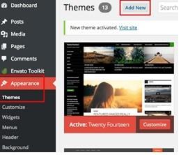 installing wordpress theme using wordpress theme page