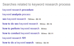 brainstorming keywords using Google search engine