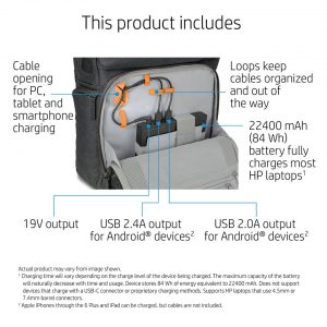 hp powerup backpack interior