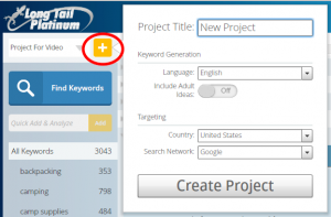 create new project - Keyword research with Long Tail Pro - Step by step guide